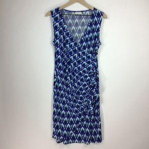 New York & Co blue geo print jersey dress medium
